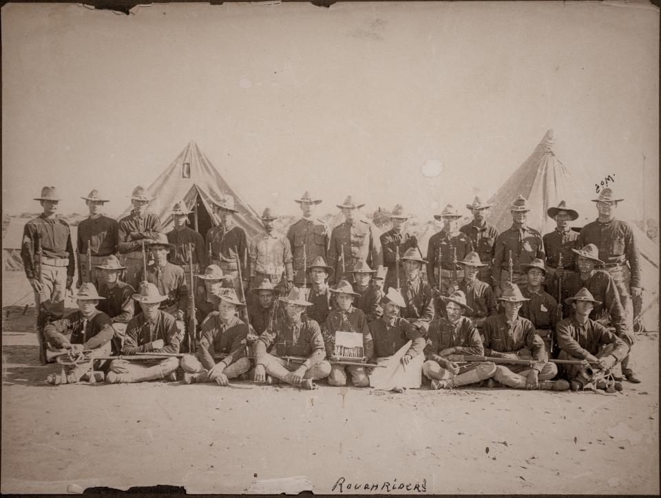 1898 photo of members of the 1st U.S. Volunteer Cavalry Regiment