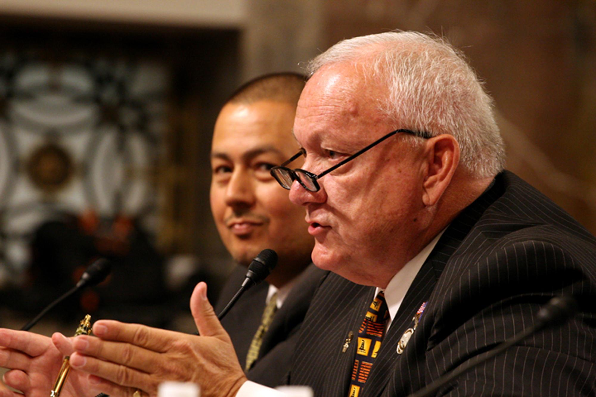 Former state Sen. Russell Pearce, R-Mesa, testifies about his bill, Arizona's SB 1070 immigration law, before a U.S. Senate subcommittee Wednesday as Sen. Steve Gallardo, D-Phoenix, listens.