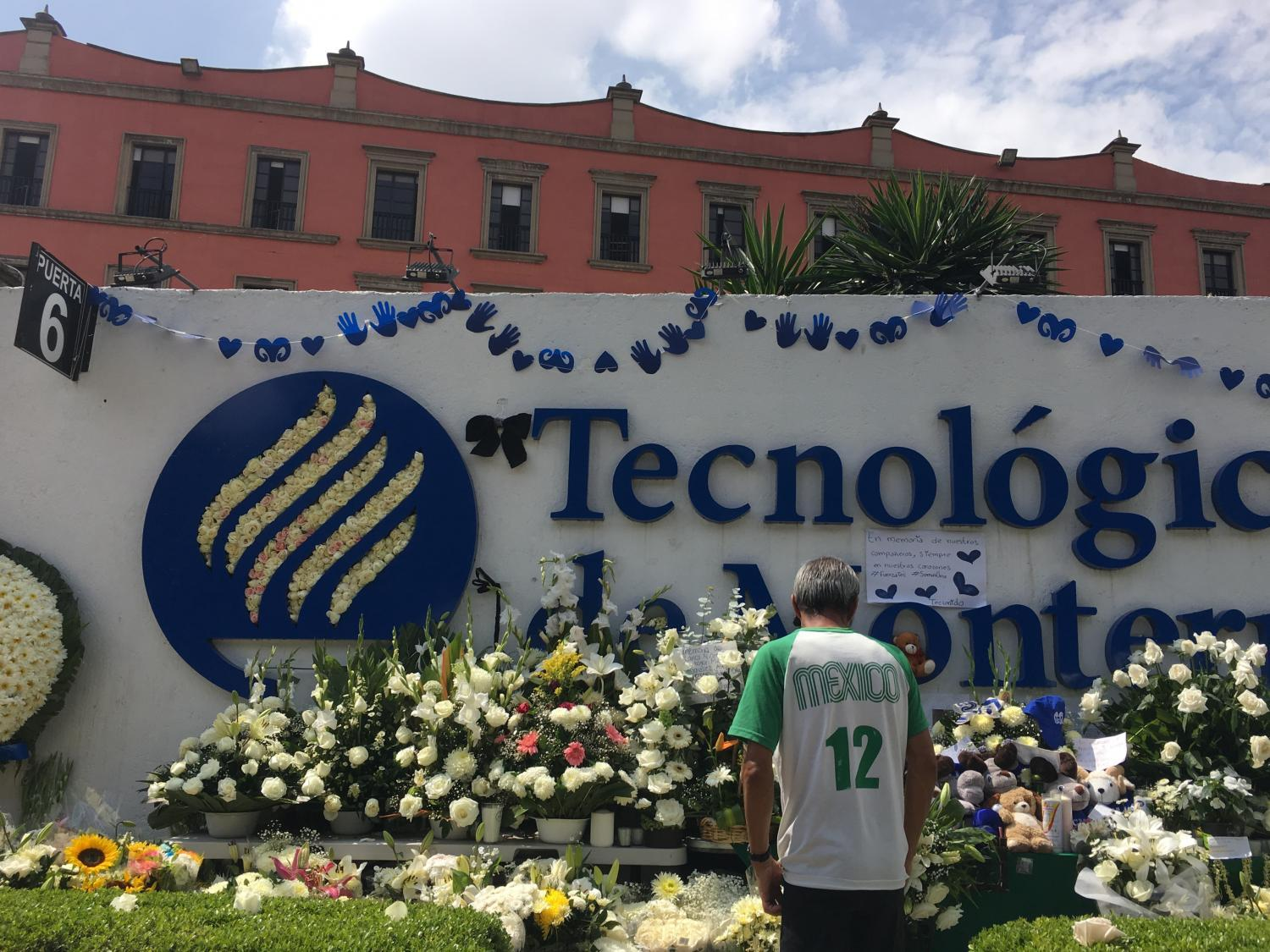 A memorial for the five students killed on the campus of Tecnologico de Monterrey universiity in Mexico City.