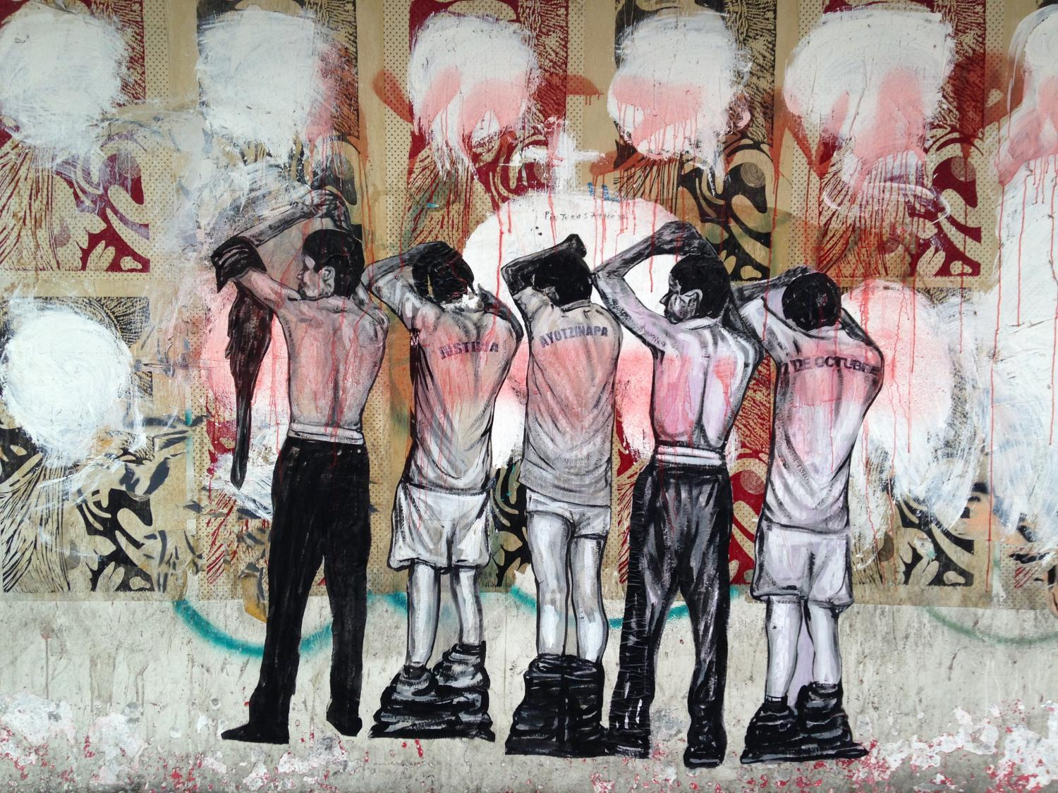 A mural depicting two cases of violence against university students in Mexico