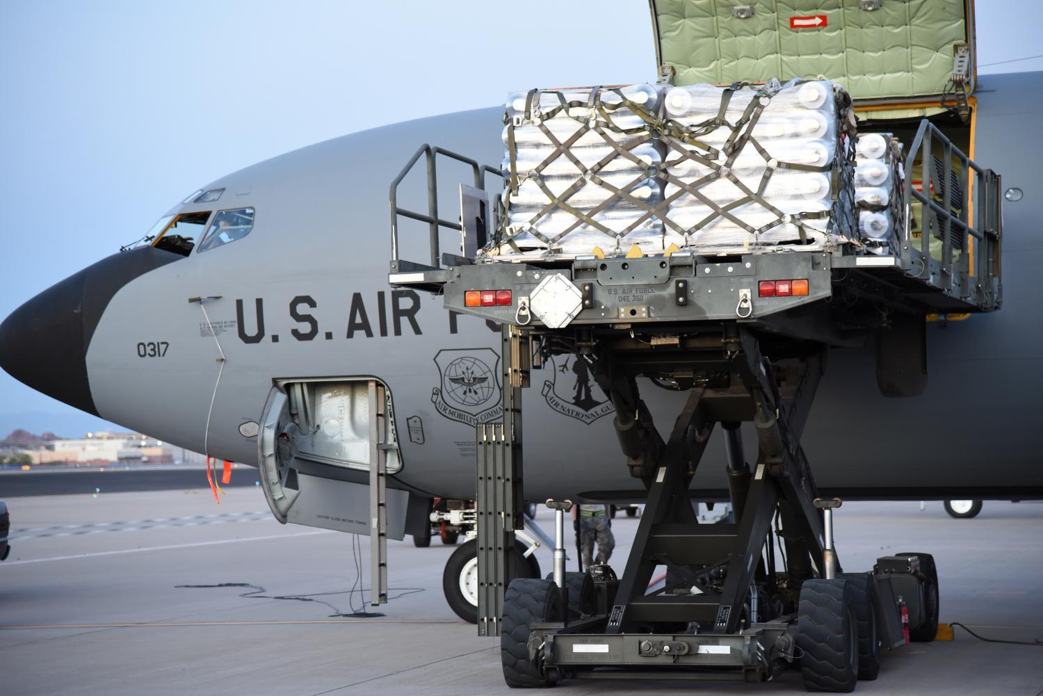 Unloading PPE from an Arizona Air National Guard tanker.