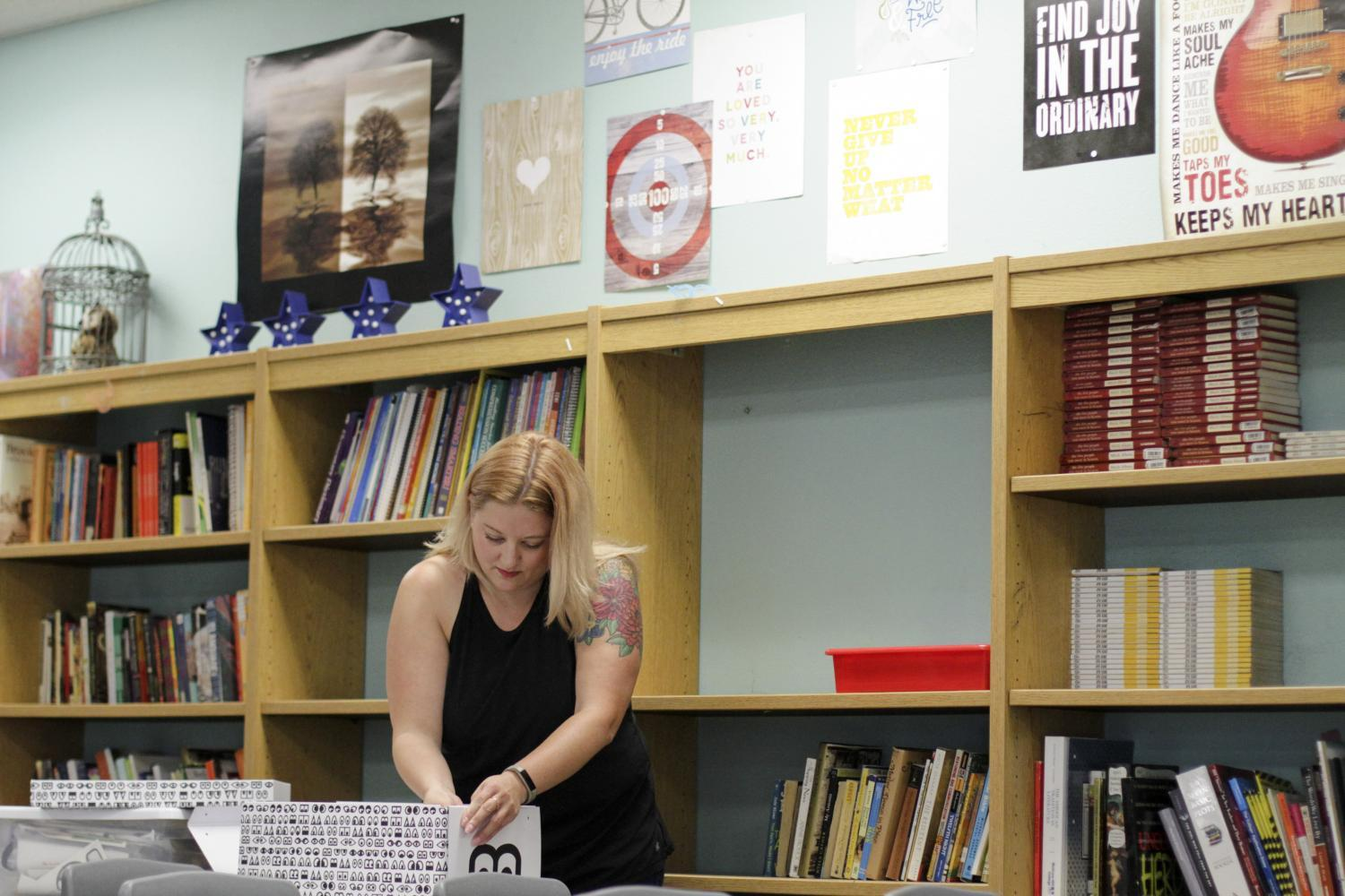 Kirsten Peters gets her classroom ready