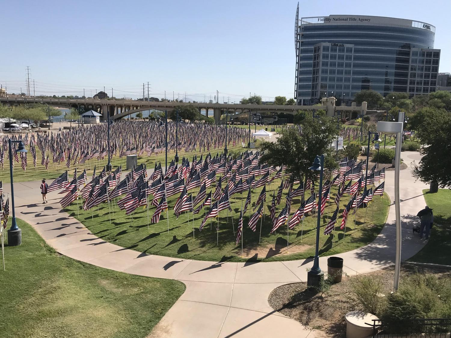 Flags displayed at Tempe Healing Field for a 9/11 memorial.