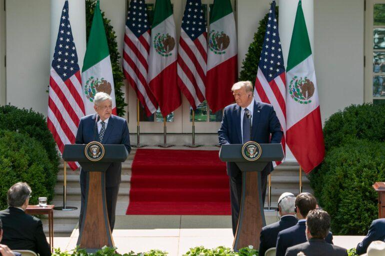 Presidents Andrés Manuel López Obrador of Mexico and Donald Trump