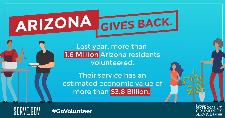Arizona volunteerism statistic.