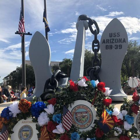 Wreaths placed under the anchor of the battleship U.S.S. Arizona, which was sunk 78 years ago on Dec. 7, 1941.