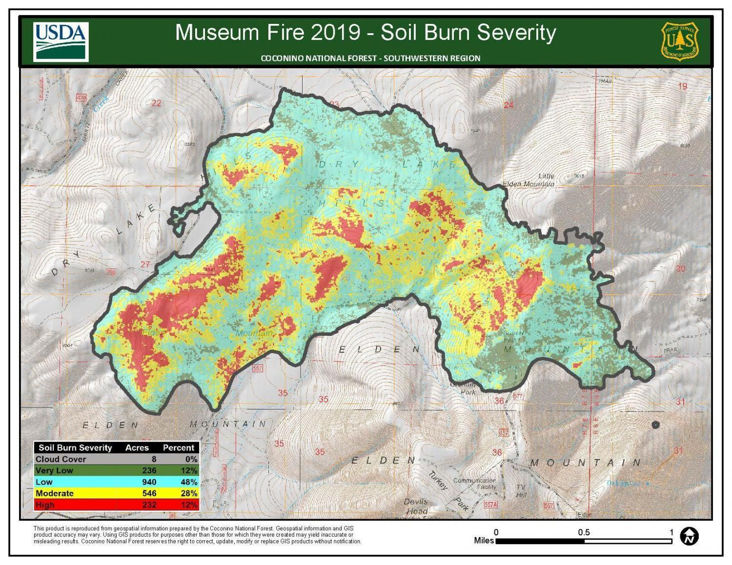 A map of soil burn severity from the Museum Fire.