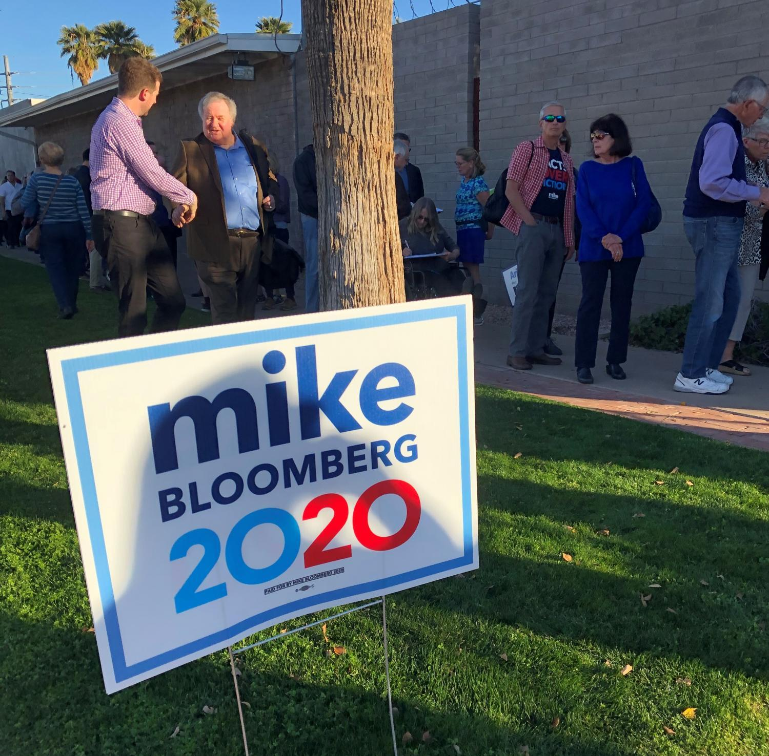 Crowds line up outside a Michael Bloomberg rally in downtown Phoenix.