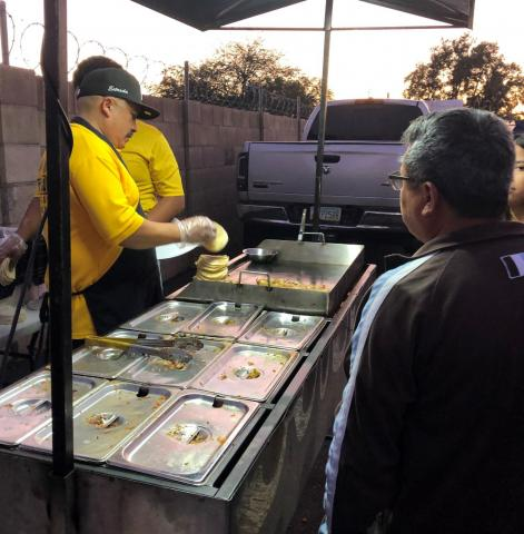 A taco stand outside a rally for Democratic presidential candidate Michael Bloomberg in downtown Phoenix, Feb. 1, 2020.