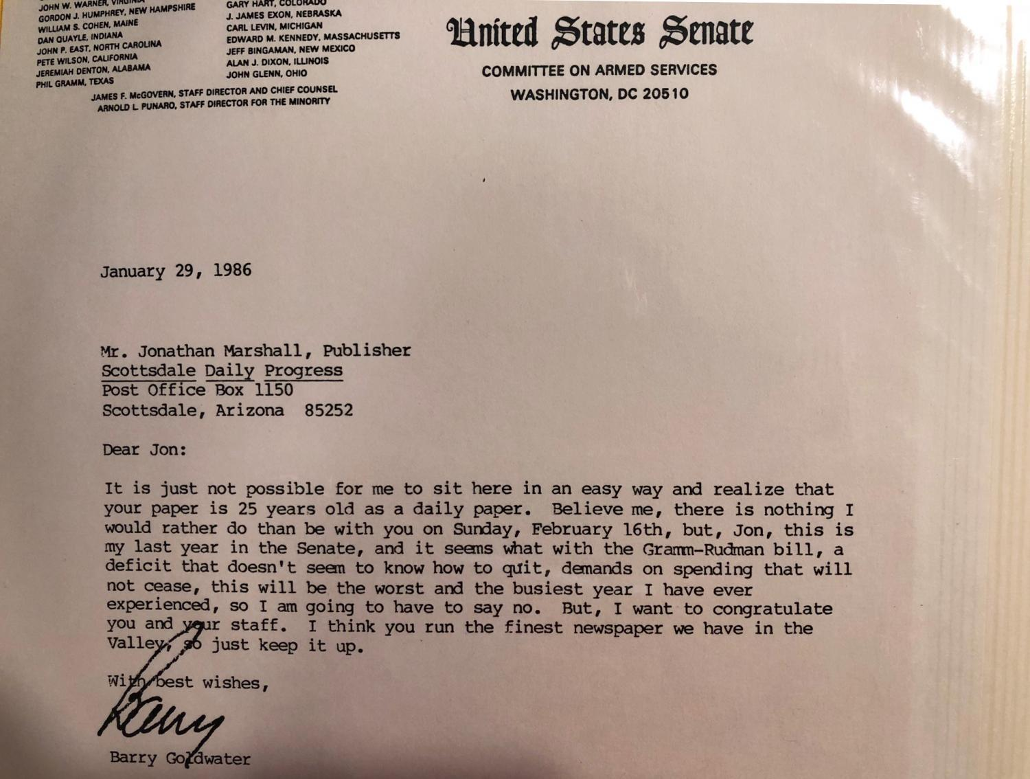 Letter from Barry Goldwater to Jonathan Marshall, publisher of the Scottsdale Progress