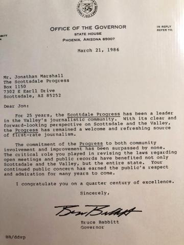 Letter from Governor Bruce Babbitt to Jonathan Marshall