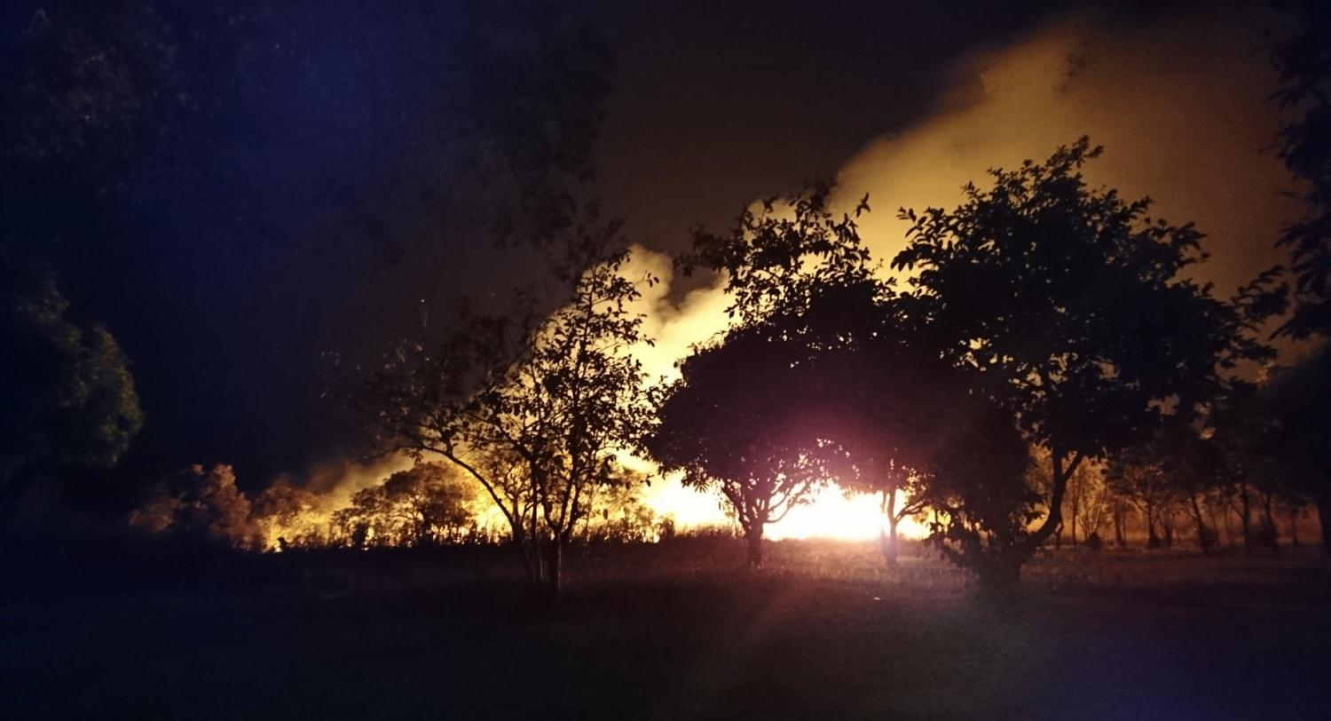 A night bush fire outside Kabwe, Zambia