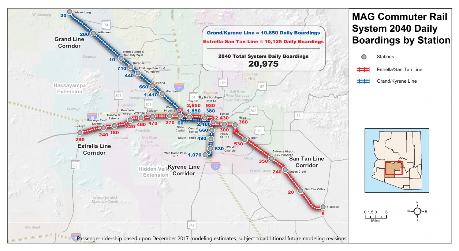 Staffers at Maricopa Association of Governments have been studying a commuter rail solution for decades. This maps shows the proposed layout and the estimated number of passengers that would board at each stop per day.