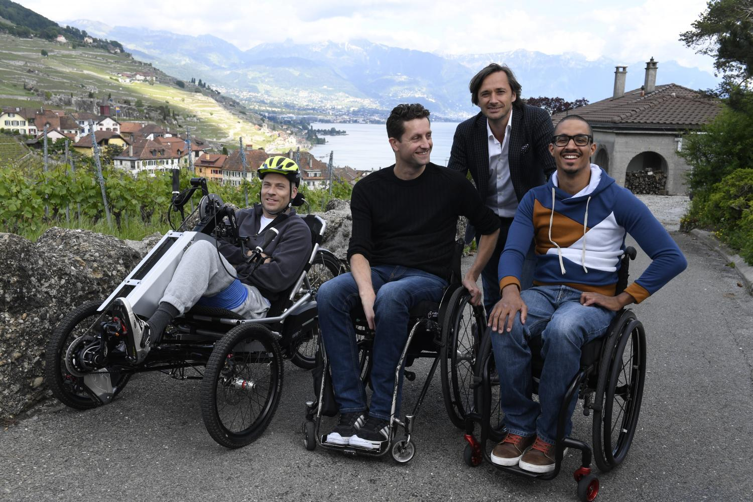 Three patients with partial or complete lower-limb paralysis