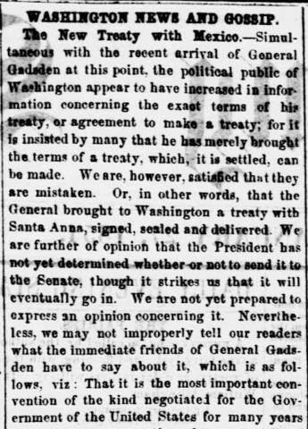 D.C. Daily Evening Star article from Jan. 27th, 1854