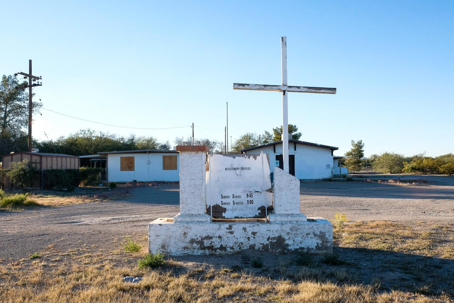 abandoned Baptist church in Rillito, Arizona