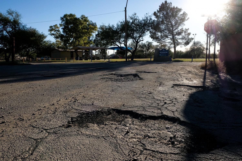 Broken Roads Potholes Park Rillito AZ Ariaona