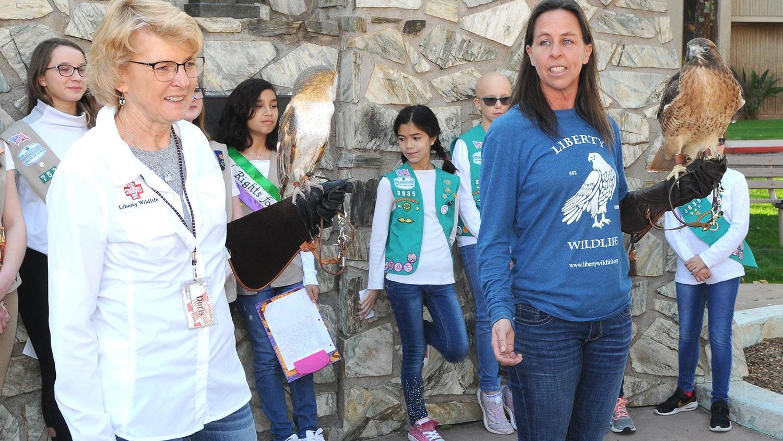 Doris Pedersen and Laura Hackett of Liberty Wildlife