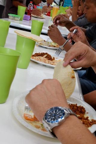 Migrant shelter breakfast