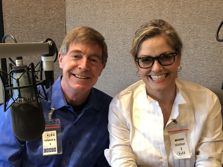 Hugh Hallman and Emily Ryan in studio
