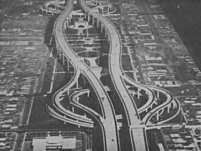 Before the Deck Park Tunnel, planners considered this 10-story-high structure with spiraling exits to central Phoenix