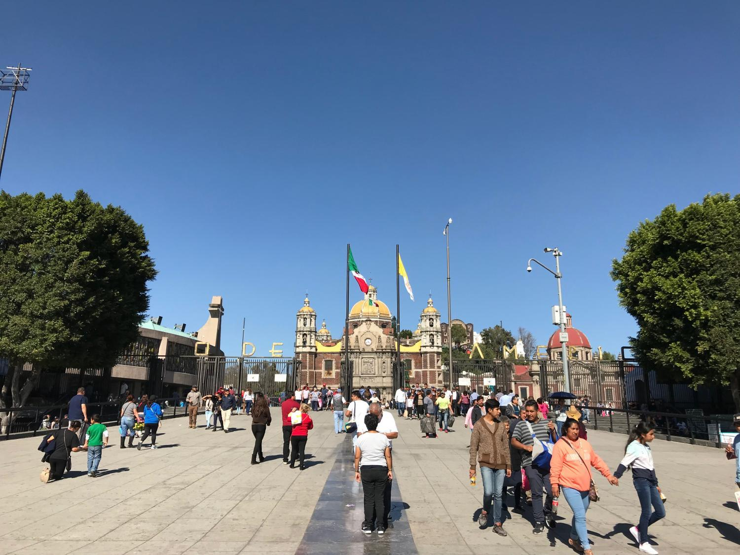 A pedestrian street outside the the Basilica of Our Lady of Guadalupe in Mexico City