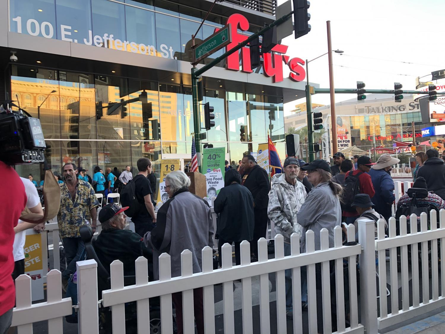 The line to get in to the new downtown Phoenix Fry