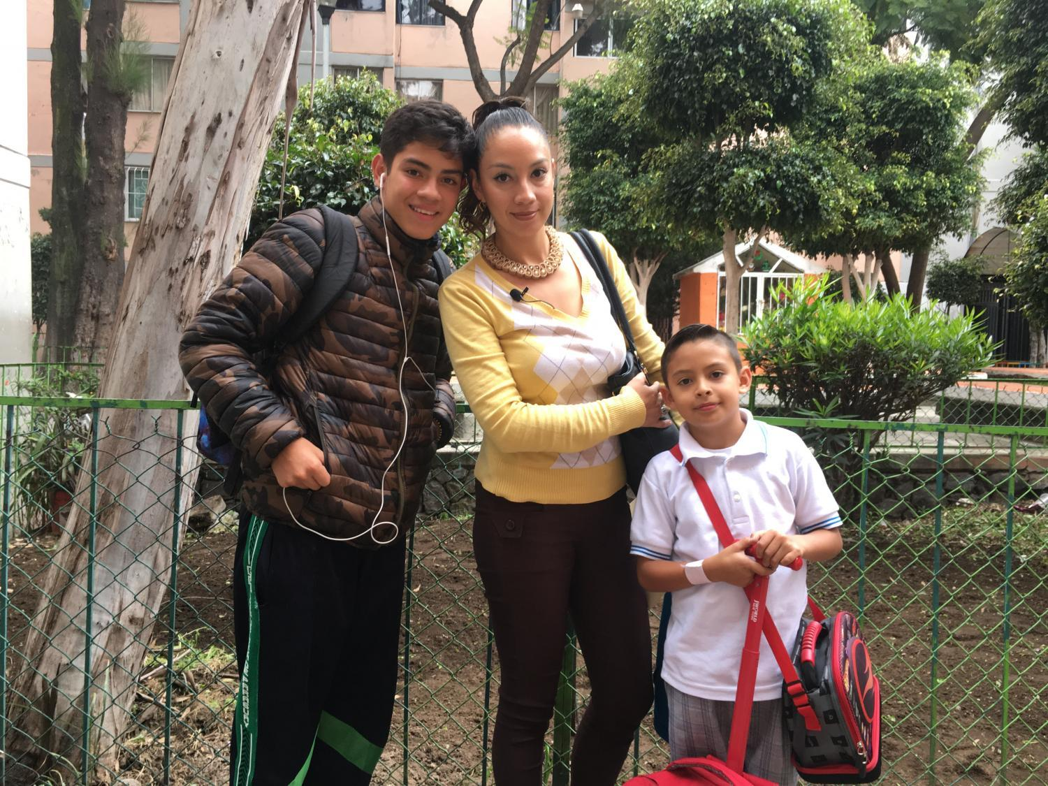 Karen Viridiana Rodriguez with her sons Yael and Donovan