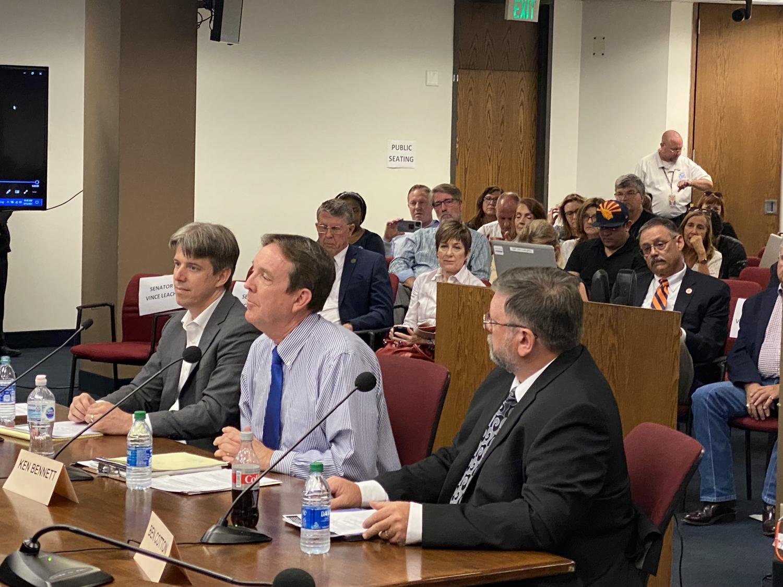 Cyber Ninjas CEO Doug Logan, Senate Liaison Ken Bennett and CyFIR founder Ben Cotton