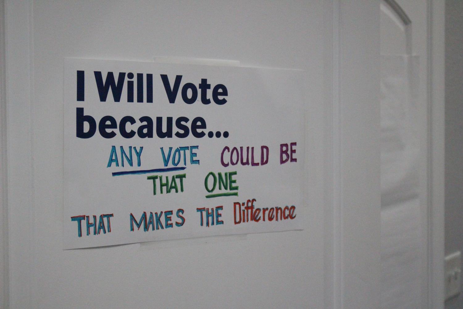 """Sign """"I will vote because..."""""""