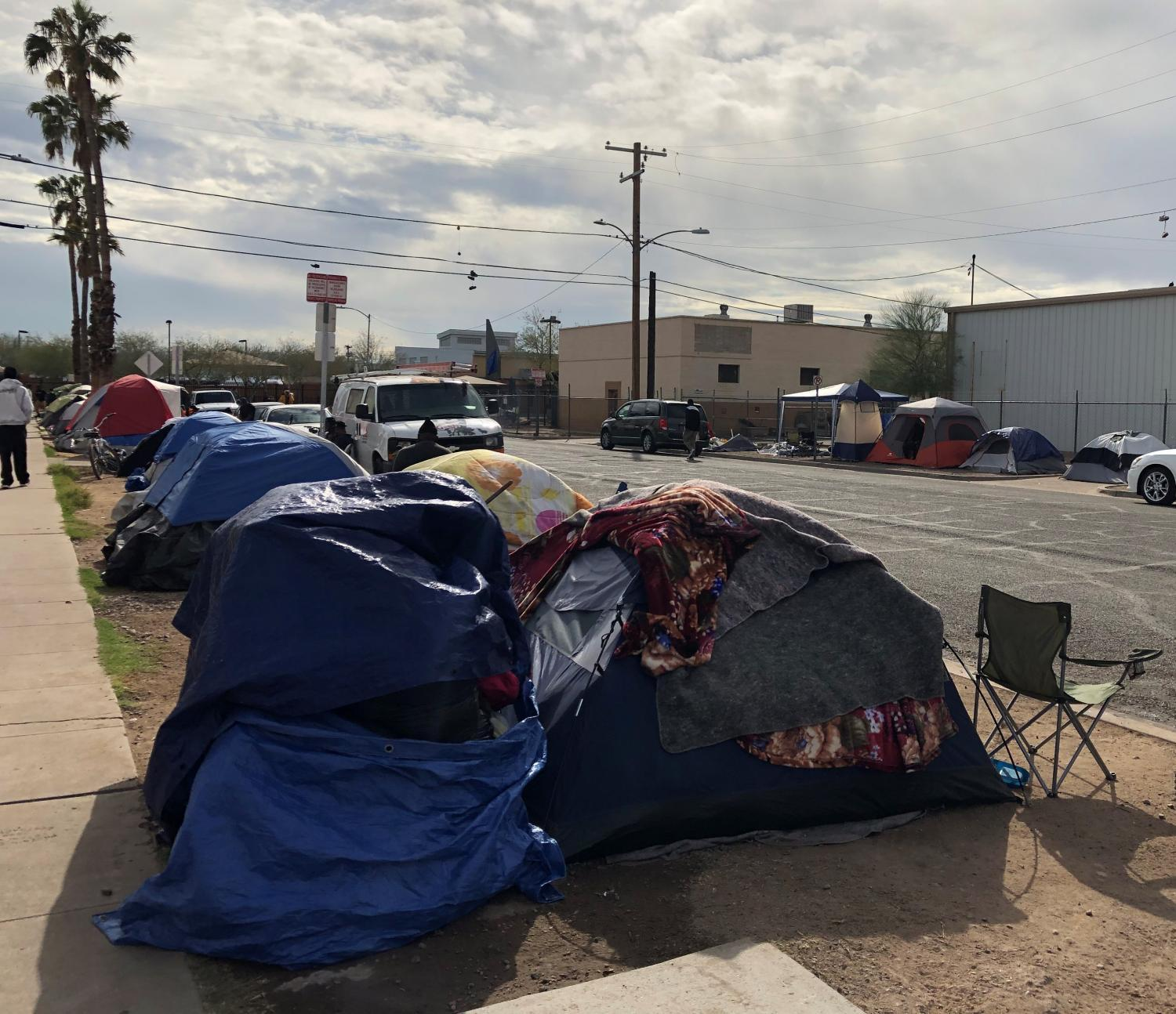 Tents line the sidewalks near the intersection of 12th Avenue and Madison Street near the state capitol on January 29, 2020. This location has one of the highest densities of people living on the street in Phoenix.