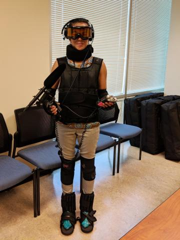 Reporter Mariana Dale in a GERT suit