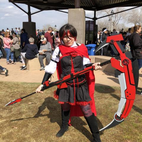 Ashlee Denault cosplays as the anime character Ruby Rose.