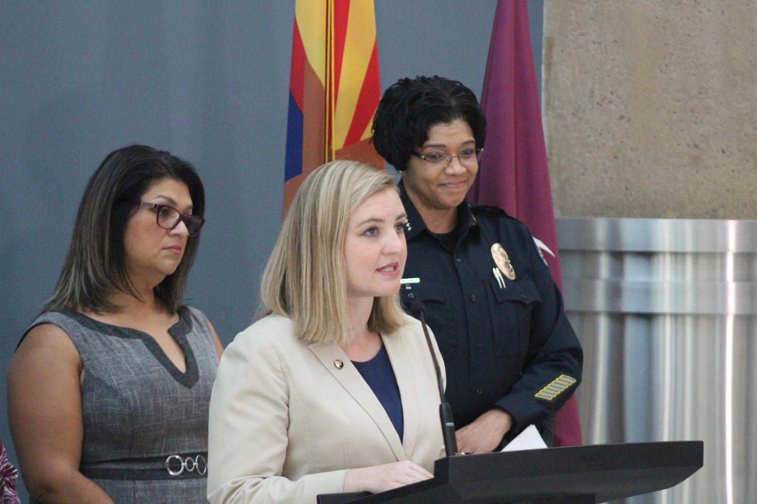(l-r) Phoenix City Councilwoman Betty Guardado, Mayor Kate Gallego, and Police Chief Jeri Williams