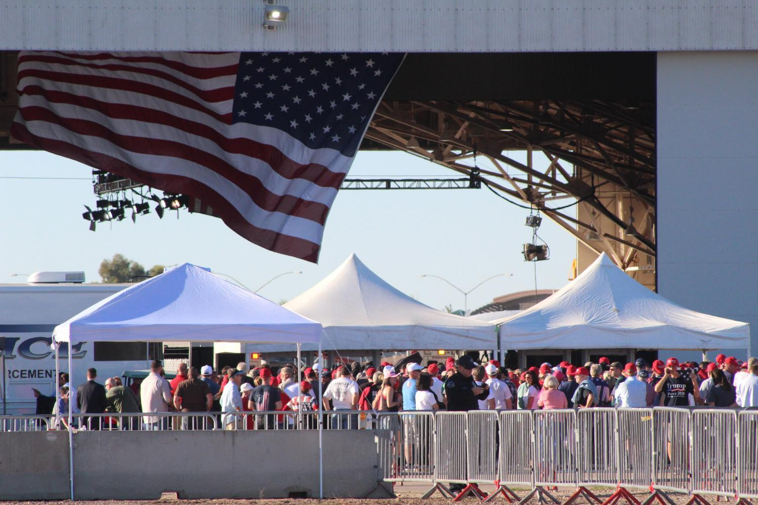 President Donald Trump spoke in Mesa on Friday, Oct. 19. The event drew a large crowd of supporters and a handful of protesters.