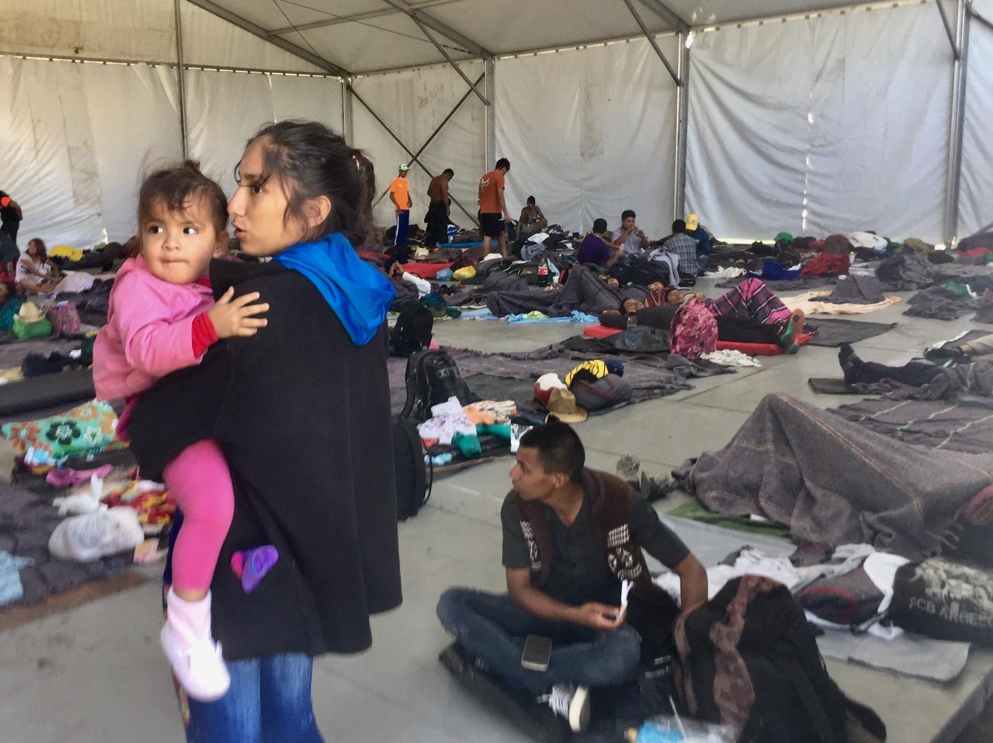 Inside one of the tents used for sheltering Central American migrants in Mexico City.