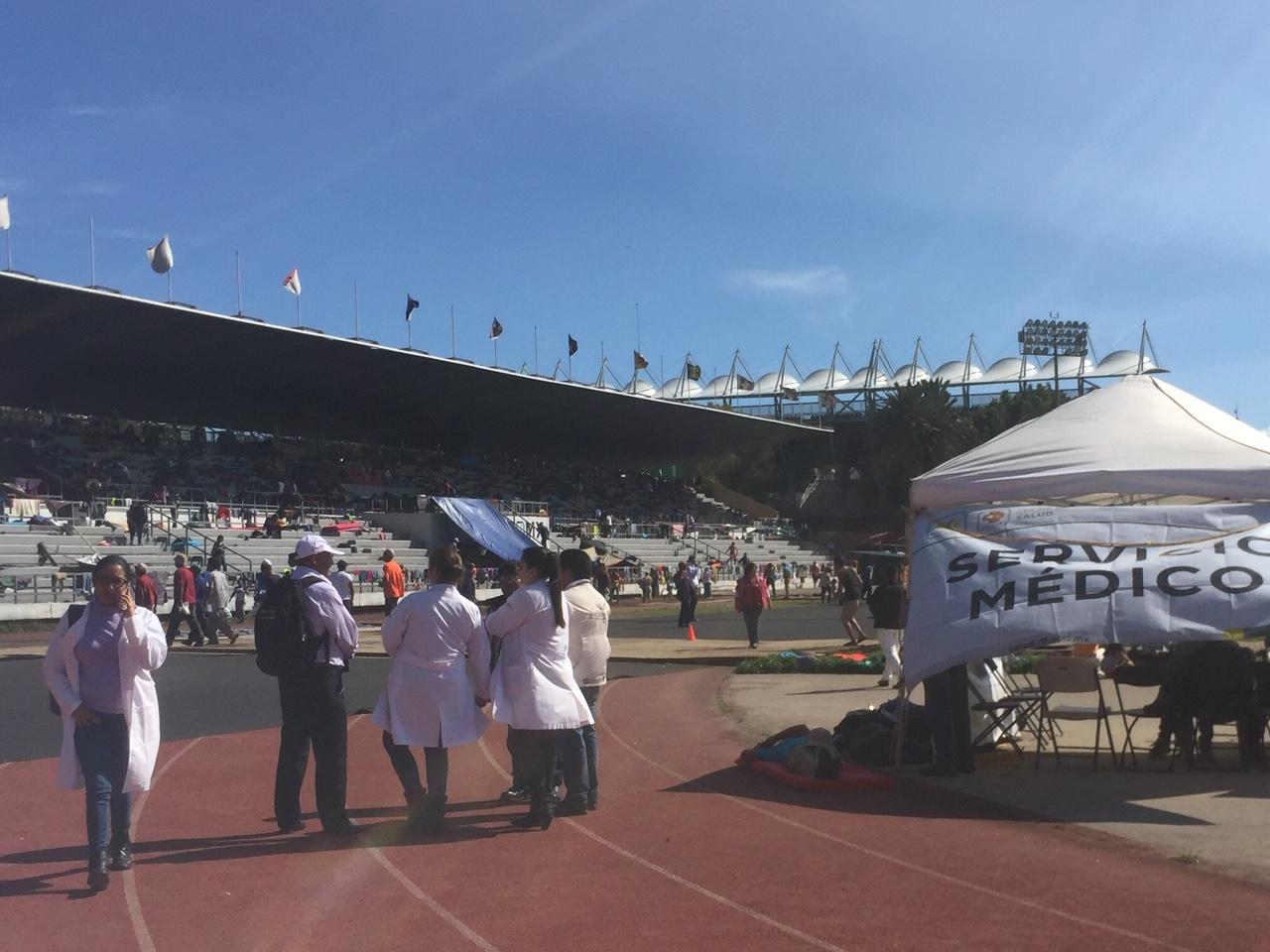 """Overview of the migrant shelter at the """"Palillo"""" Stadium in Mexico City."""