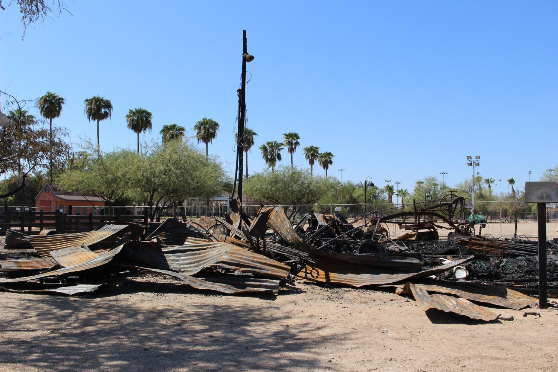 Burned granary at Sahuaro Ranch Park.
