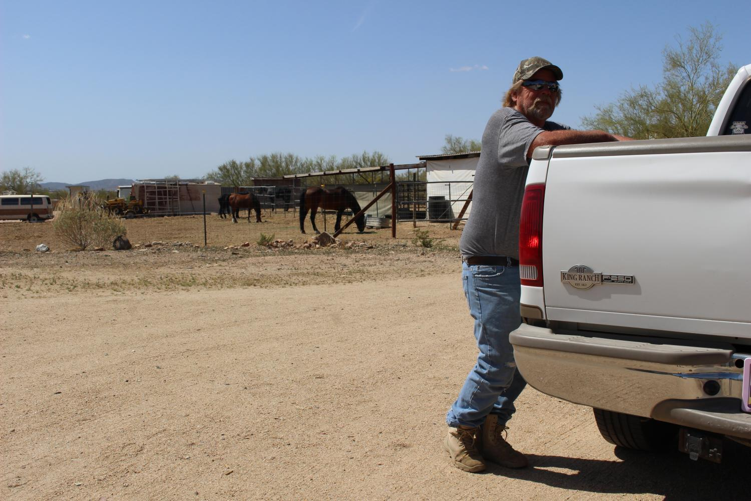 Ron Bentley at his New River home in April, complete with horses. He