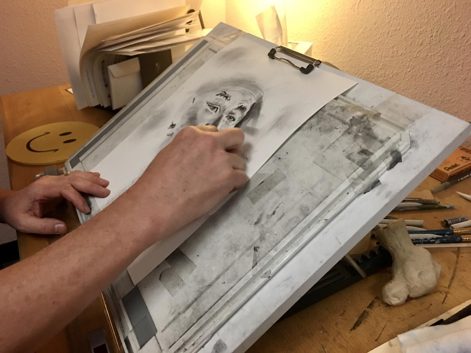 hand on paper drawing