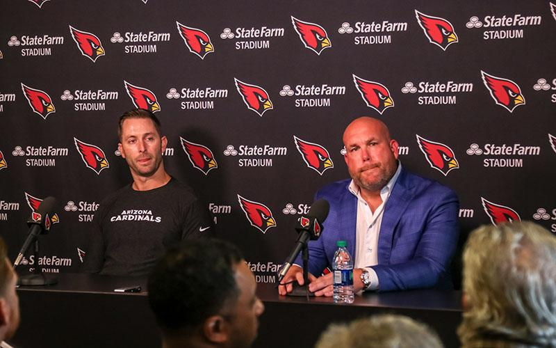 Arizona Cardinals coach Kliff Kingsbury (left) and general manager Steve Keim