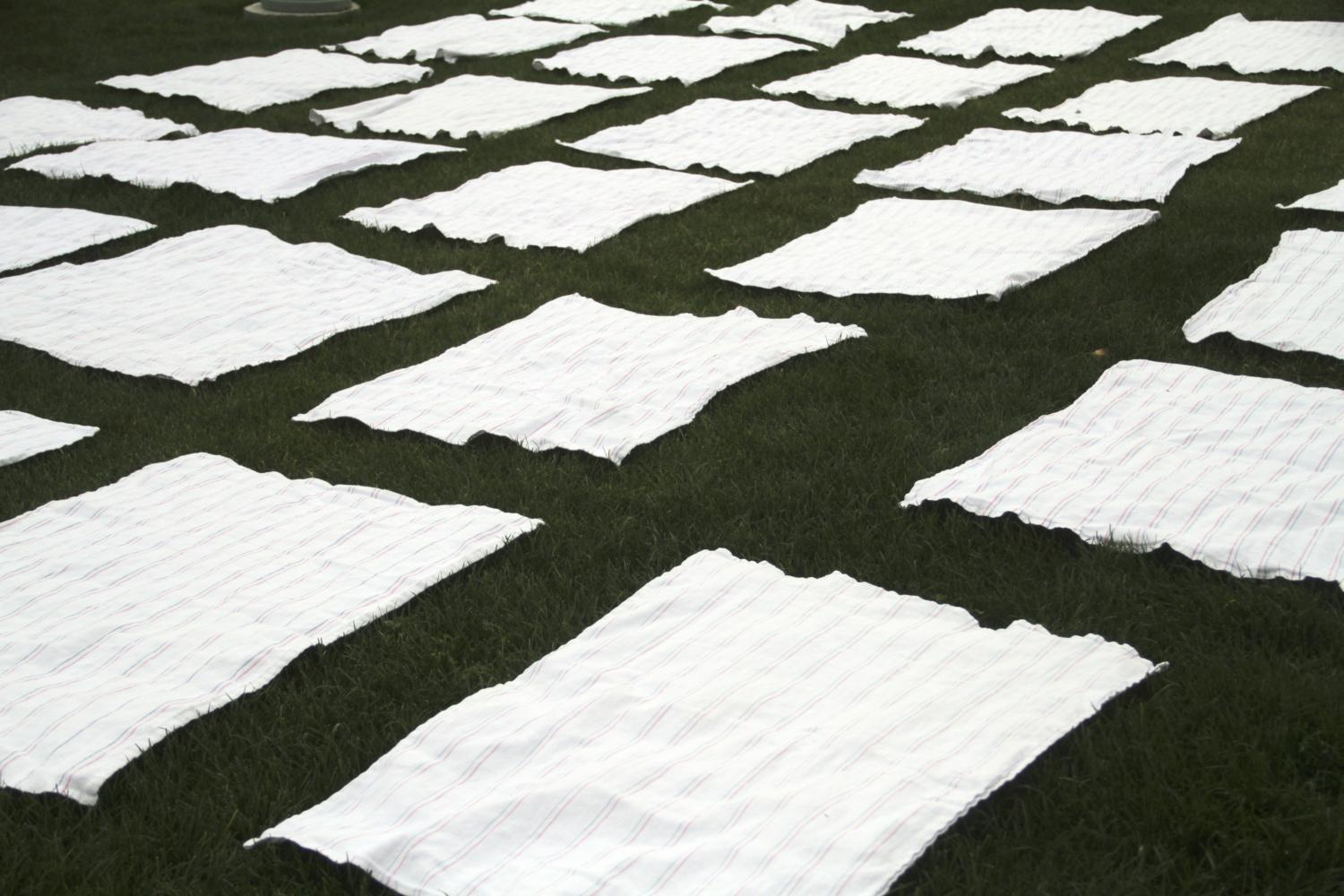 blankets on the Capitol lawn represent recent mothers that have died in Arizona