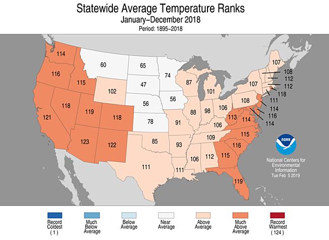 NOAA temperature map