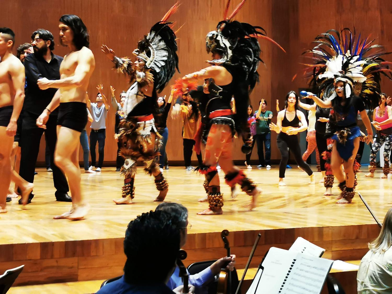 """Rehearsal of the opera """"Motecuhzoma II"""" in Mexico City"""
