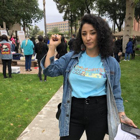 Alejandra Pablos, an immigration activist, spoke at the National Organization for Women rally at the state Capitol on Dec. 8, 2019. Pablos has been subject to deportation proceedings for 12 years due to  DUI and drug paraphernalia charges.