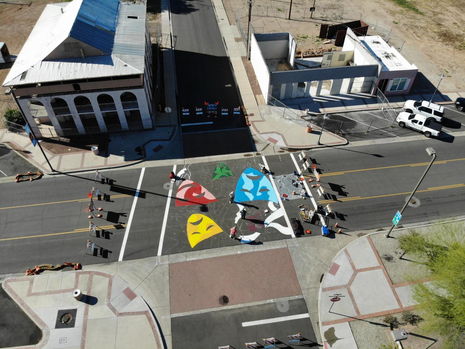 aerial view of painted intersection