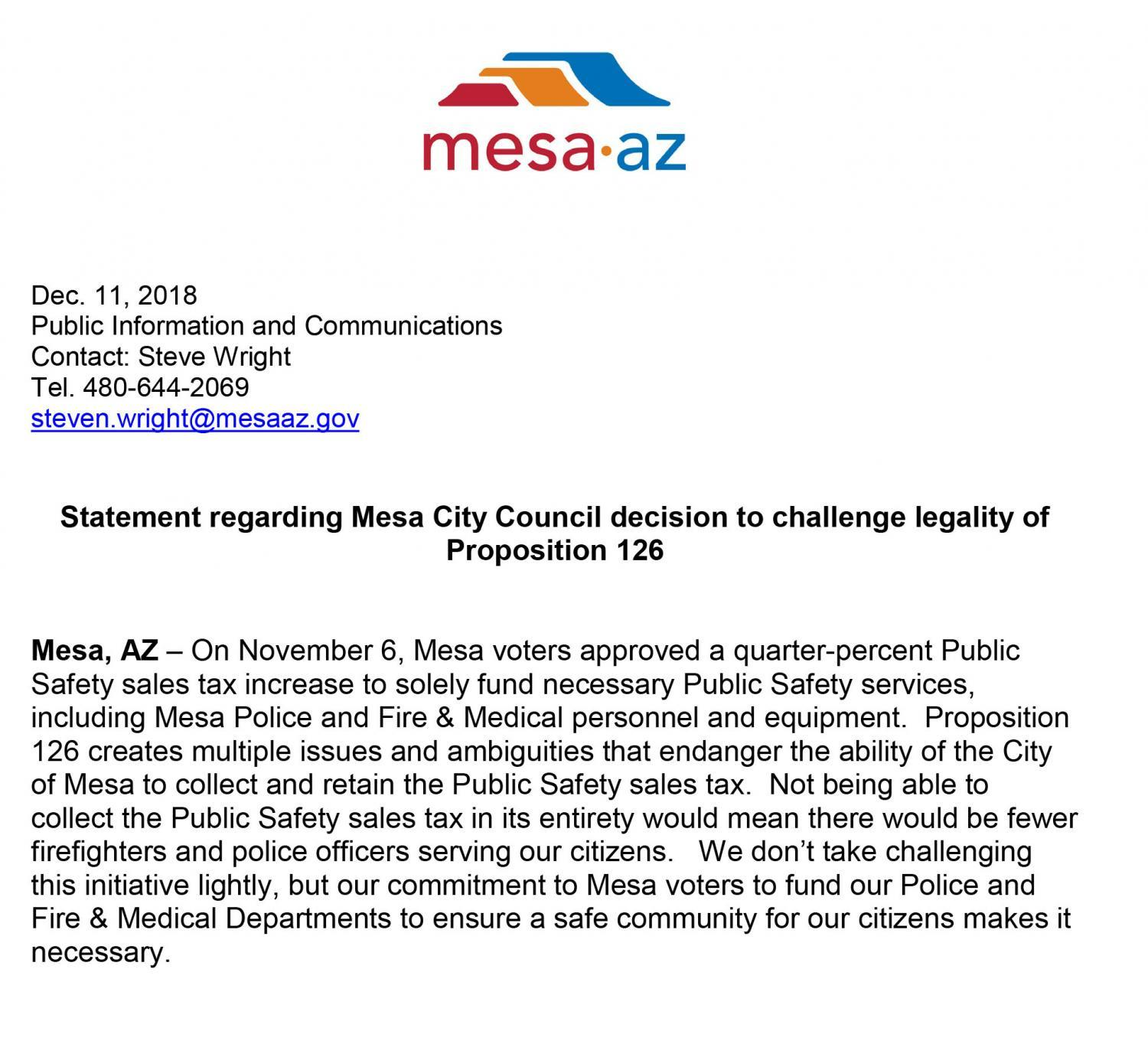 City of Mesa statement on Proposition 126
