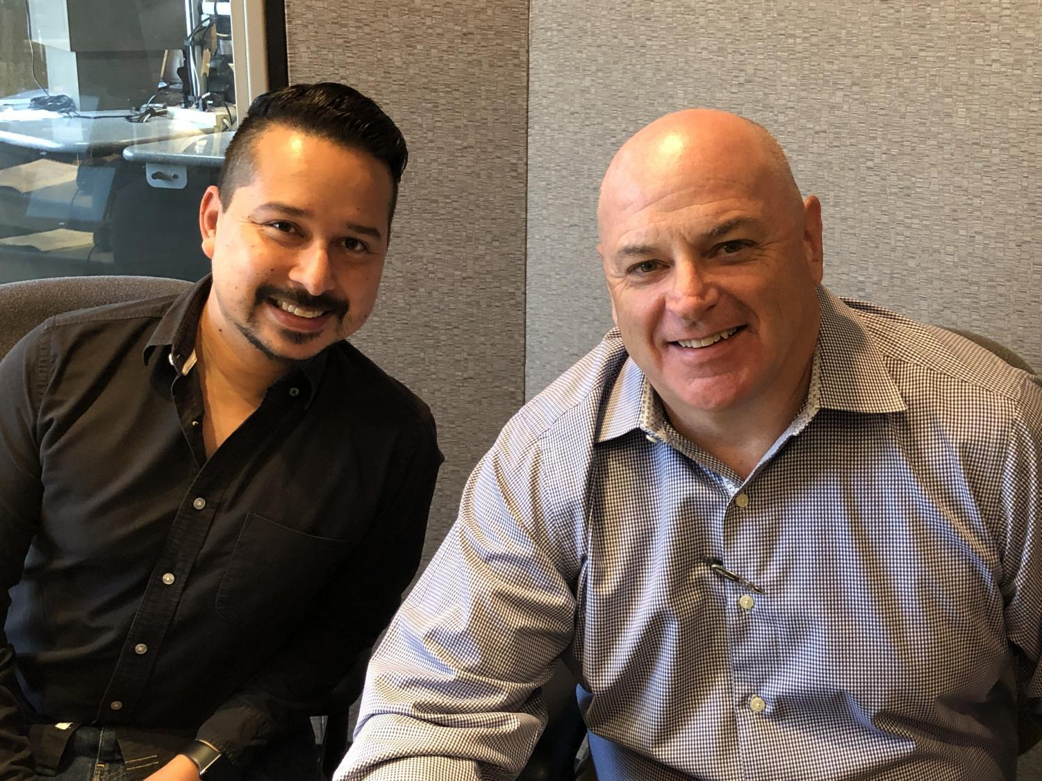 Roy Herrera and Chuck Coughlin in studio