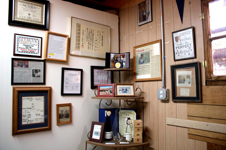 Atsuo Sakurai keeps a corner of memoribilia