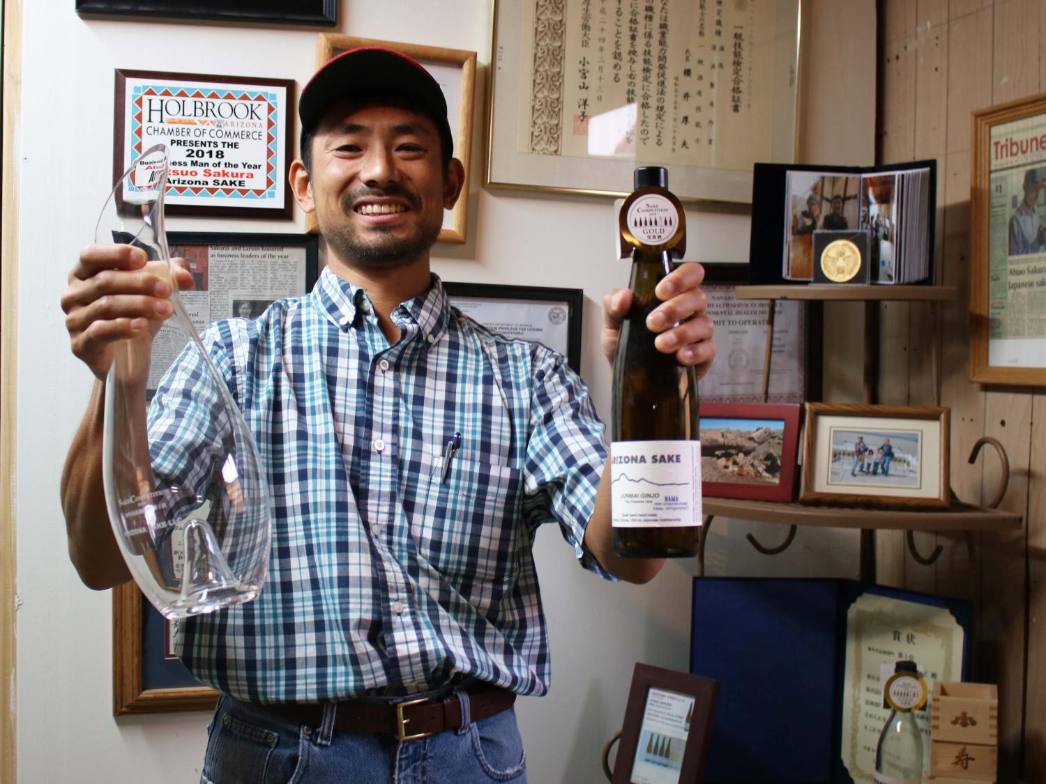 Atsuo Sakurai won an award for having the best-tasting sake brewed outside of Japan